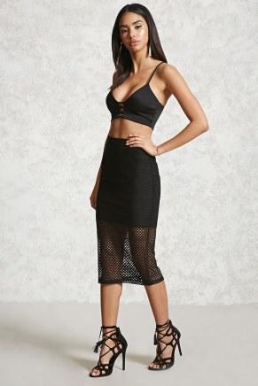 Forever 21 Open Mesh Layered Midi Skirt-$12.90