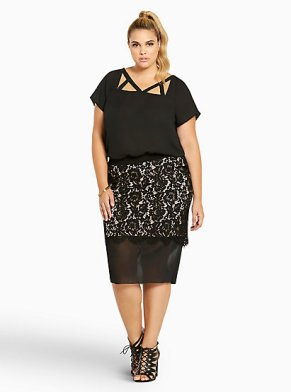 Torrid Lace Mesh Panel Pencil Skirt-$26.23