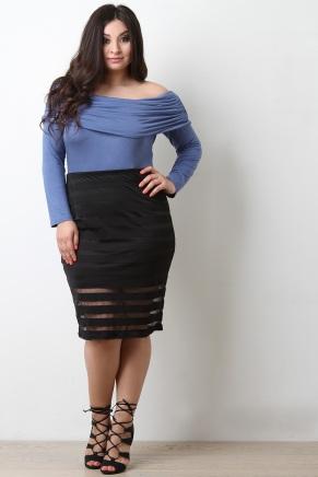 UrbanOG Stripe Mesh High Waisted Pencil Skirt-$28.10