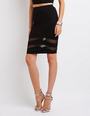 Charlotte Russe Mesh-Trim Pencil Skirt-$22.99